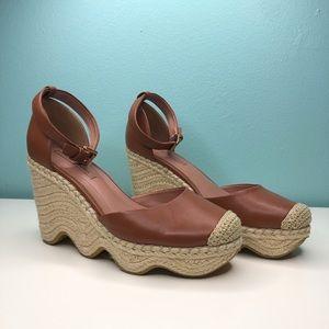 BCBGMaxAzria Wave Espadrille Wedge Leather Sandals